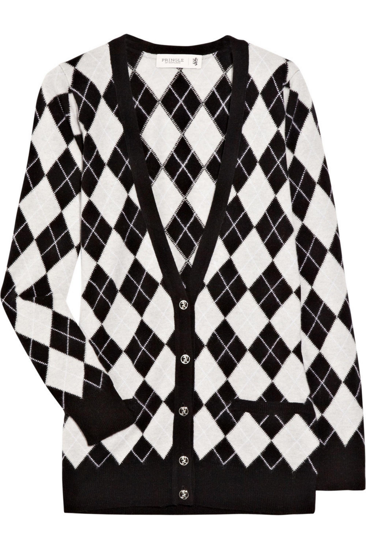 Cashmere argyle cardigan
