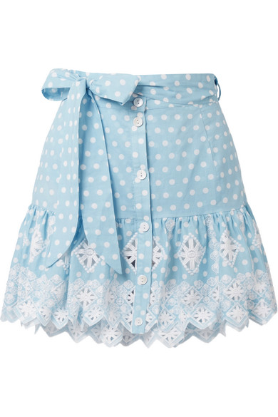 MIGUELINA Emy Broderie Anglaise-Trimmed Polka-Dot Cotton Mini Skirt in Light Blue