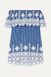 Agnes off-the-shoulder crocheted polka-dot cotton-voile mini dress
