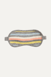 Striped cashmere and wool-blend eye mask