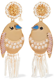 Mercedes Salazar Bird gold-tone, faux pearl and crystal clip earrings