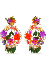 Mercedes Salazar Fiesta gold-plated resin clip earrings