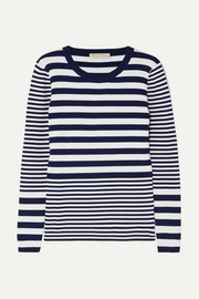 Striped ribbed stretch-knit sweater