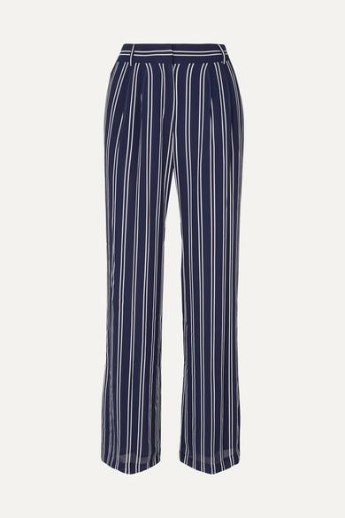 Mega Railroad Striped Georgette Pants in Navy