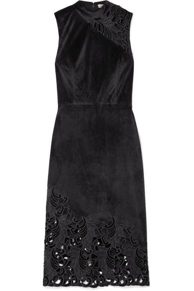 Alice + Olivia Kiana Velvet & Lace Sheath Dress in Black