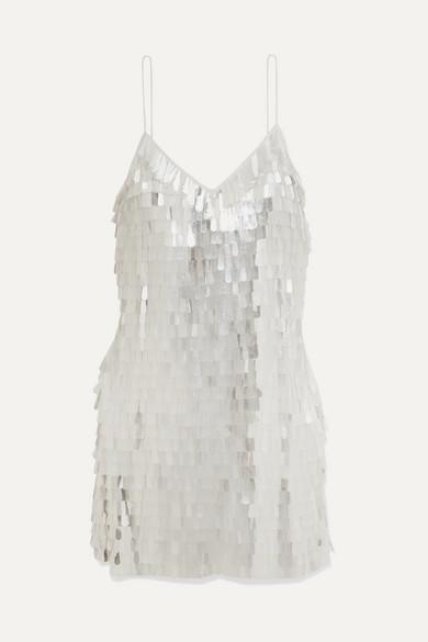 Contessa Paillette-Embellished Chiffon Mini Dress in White