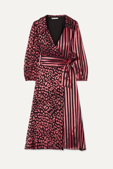 Abigail Metallic Leopard & Stripe Stretch Silk Wrap Dress in Leopard Rose