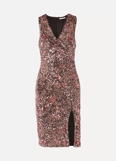 Natalie Embellished V-Neck Midi Dress W/ Slit in Pink