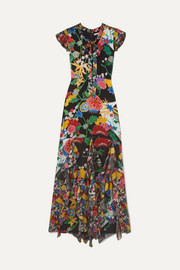 Laurette ruffled floral-print satin maxi dress