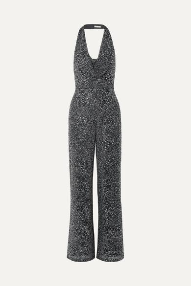 d36528ad63af Salem Draped Crystal-embellished Stretch-crepe Halterneck Jumpsuit