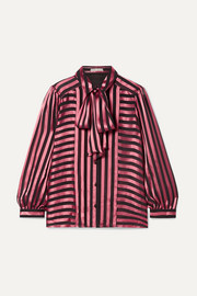 Willis pussy-bow striped satin and chiffon blouse