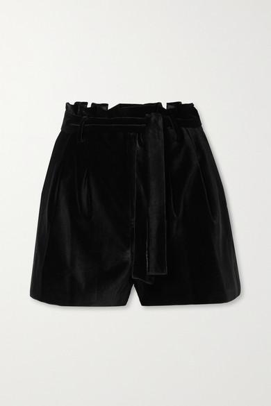 Alice + Olivia Laurine Velvet Paperbag-Waist Shorts in Black