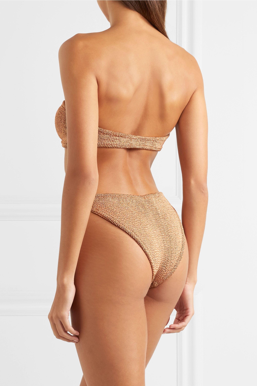 Hunza G Jean metallic seersucker bandeau bikini