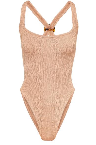 HUNZA G Zora Metallic Seersucker Swimsuit in Beige