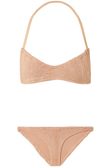 HUNZA G Collette Seersucker Halterneck Bikini in Sand