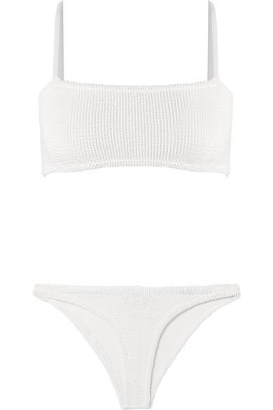 HUNZA G Gigi Seersucker Bikini in White
