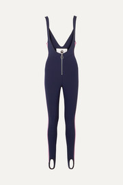 The Vail striped stirrup stretch ski suit