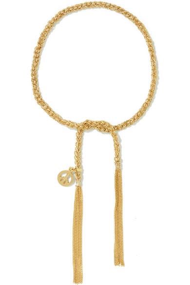 Carolina Bucci Peace Lucky 18 Karat Gold And Silk Bracelet Net A Porter Com