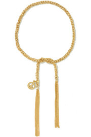 Peace Lucky 18-karat gold and silk bracelet