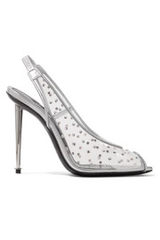 TOM FORD Embellished PVC and metallic leather slingback pumps