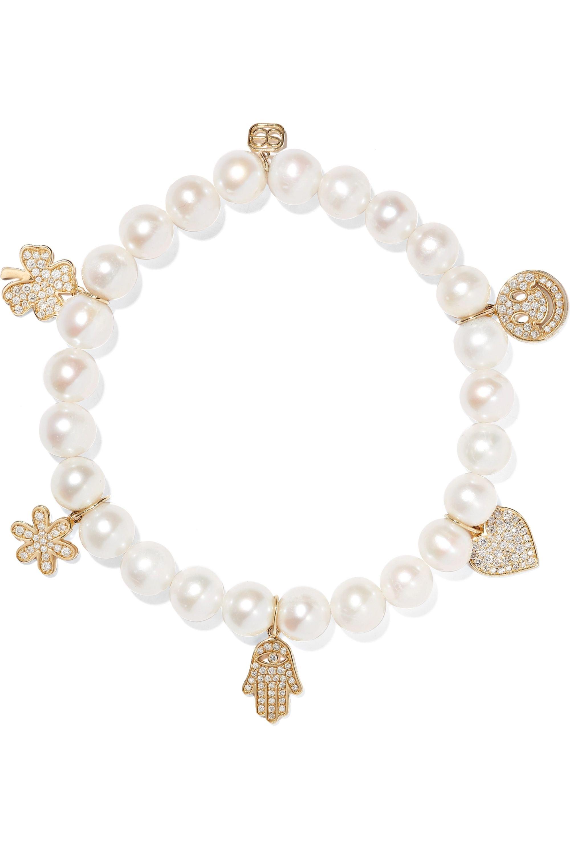 Sydney Evan Pearl, diamond and 14-karat gold bracelet