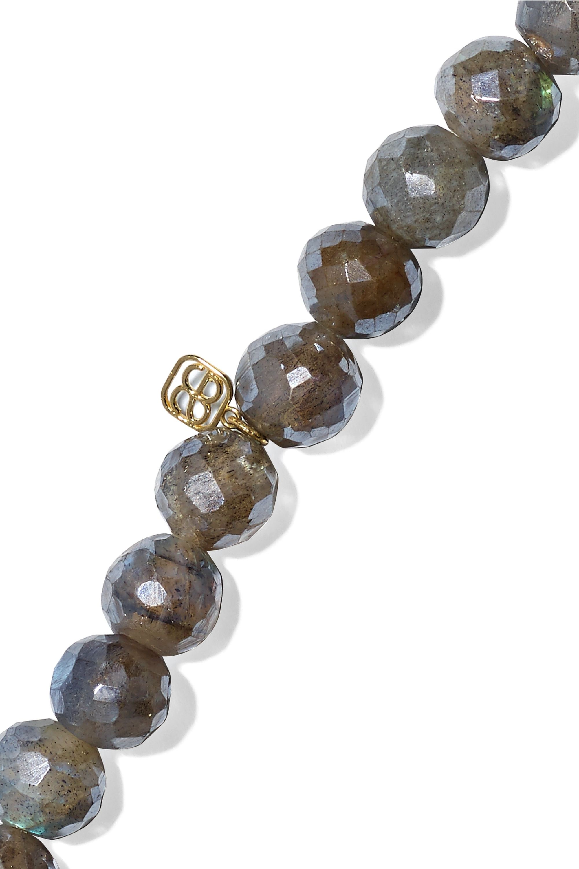 Sydney Evan Horn labradorite, diamond and 14-karat gold bracelet