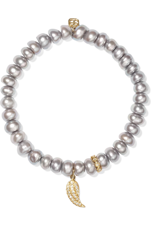 Sydney Evan Wing pearl, diamond and 14-karat gold bracelet