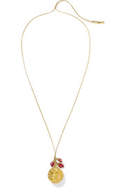 Pippa Small 18-karat gold, tourmaline and cord necklace