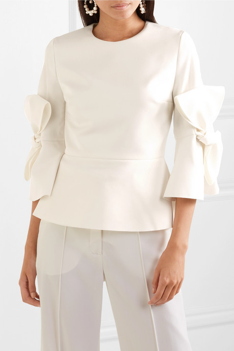 Kemi bow-embellished satin-trimmed crepe blouse