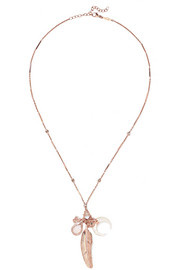 Jacquie Aiche 14-karat rose gold multi-stone charm necklace