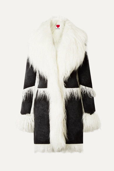 HOUSE OF FLUFF Faux Shearling-Trimmed Velvet Coat in Black