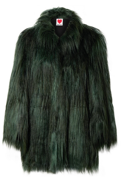 HOUSE OF FLUFF Yeti Faux Fur Coat in Forest Green