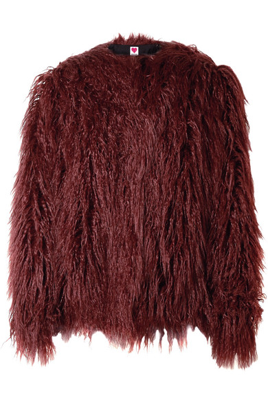 HOUSE OF FLUFF Faux Fur Coat in Burgundy