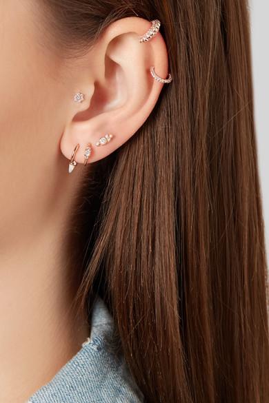 Maria Tash 14 Karat Rose Gold Opal Earring