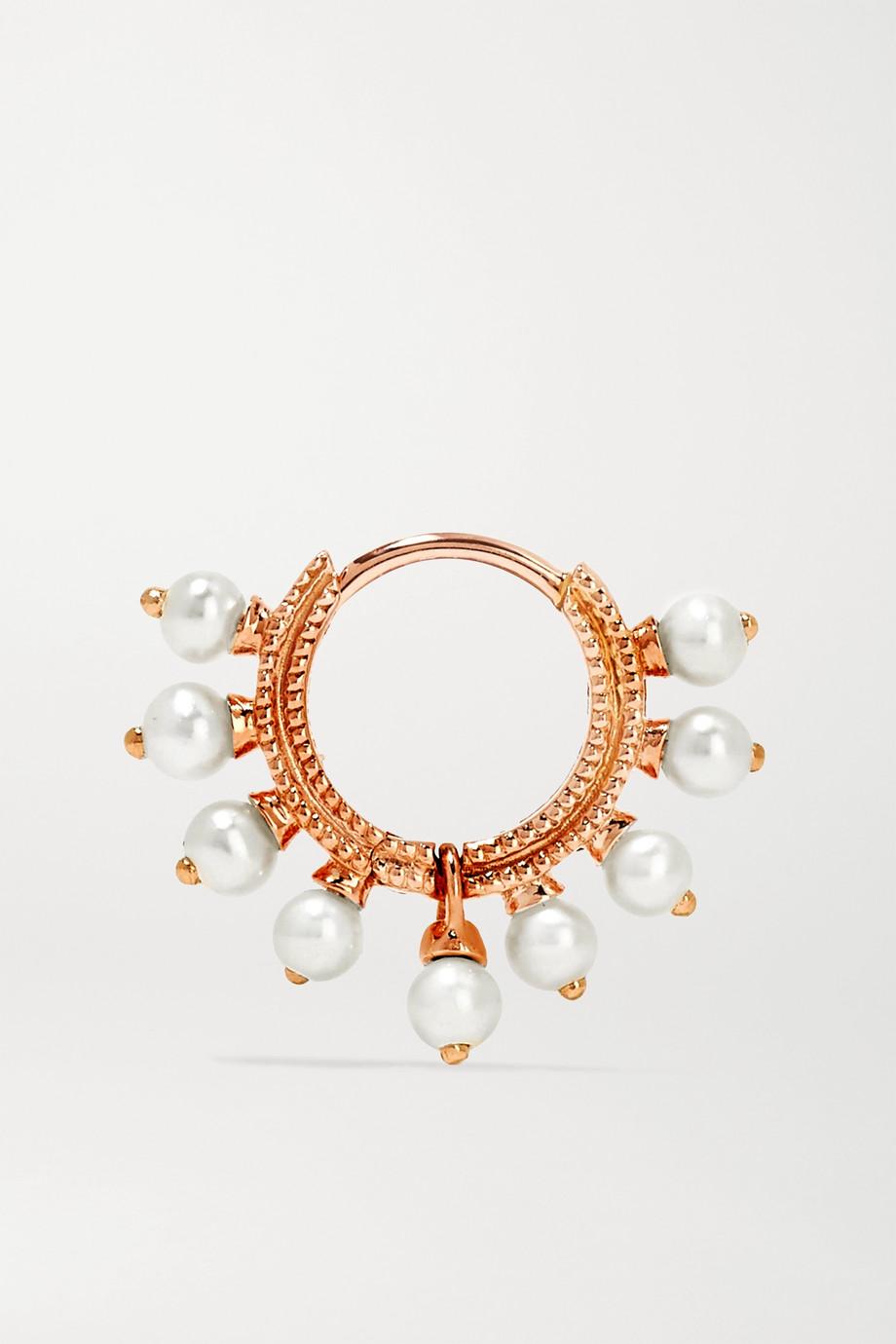 Maria Tash 6.5mm 18-karat rose gold pearl hoop earring