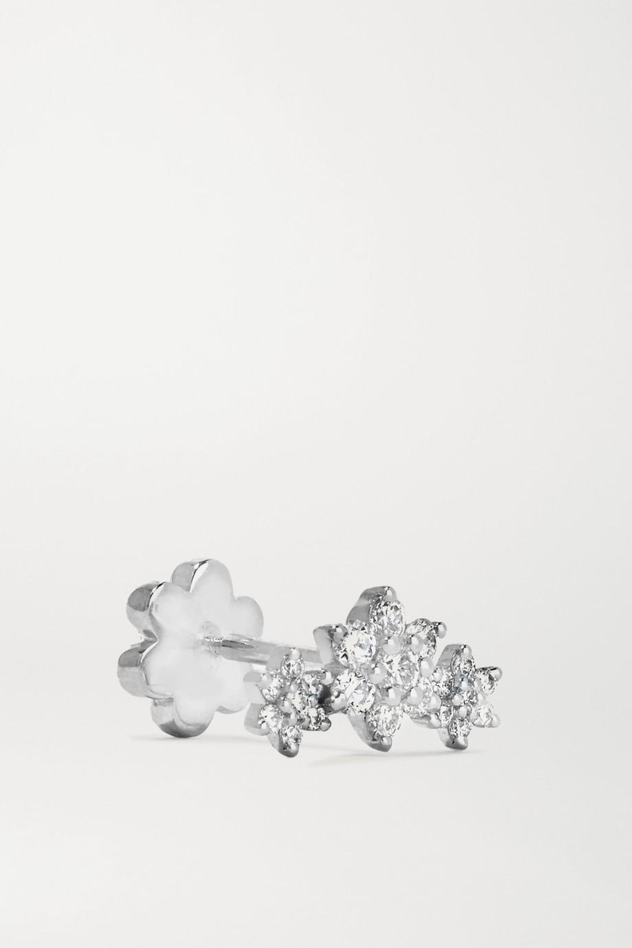 Maria Tash Flower Garland 3 mm Ohrring aus 18 Karat Weißgold mit Diamanten