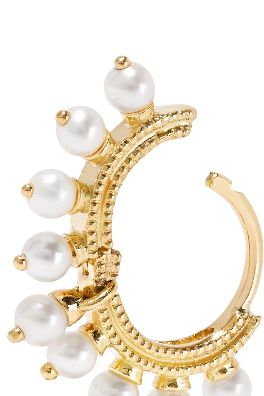 Maria Tash 6.5mm 14-karat gold pearl hoop earring