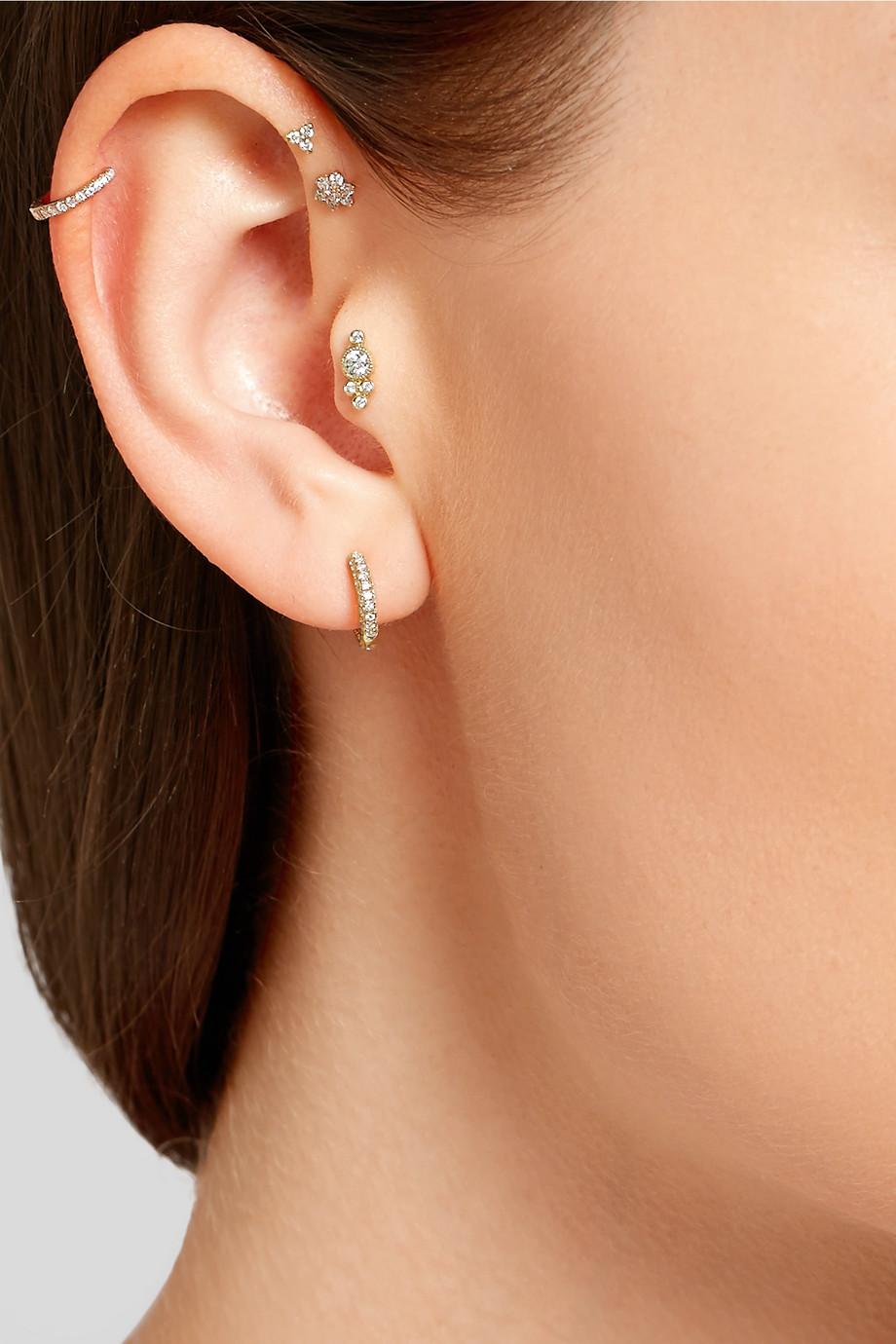 Maria Tash Boucle d'oreille en or rose 18 carats et diamants 6,5 mm