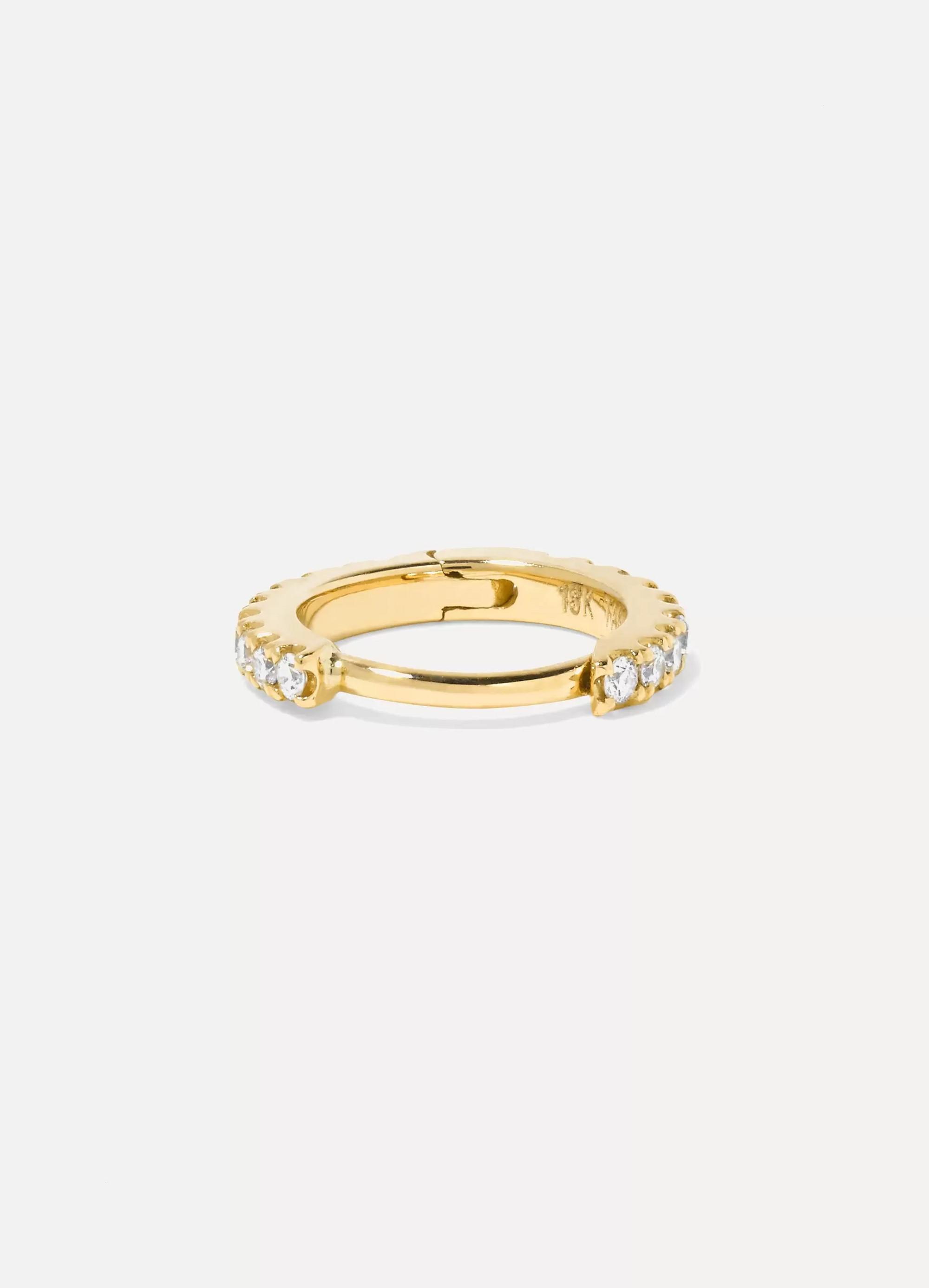 MARIA TASH 6.5mm 18-karat gold diamond hoop earring