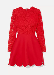 Valentino Guipure lace and crepe mini dress