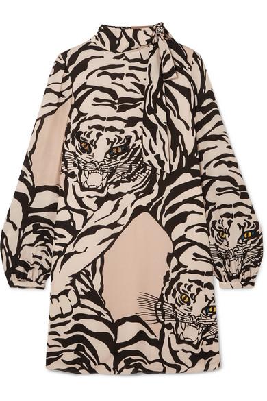 Long-Sleeve Short Tiger-Print Dress In Georgette Silk in Neutrals