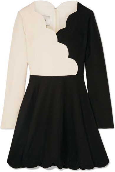 Scalloped Two Tone Wool And Silk Blend Mini Dress by Valentino