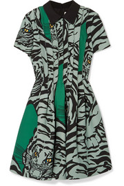 Printed wool and silk-blend crepe mini dress