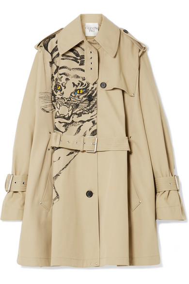 Valentino Clothing Printed gabardine trench coat