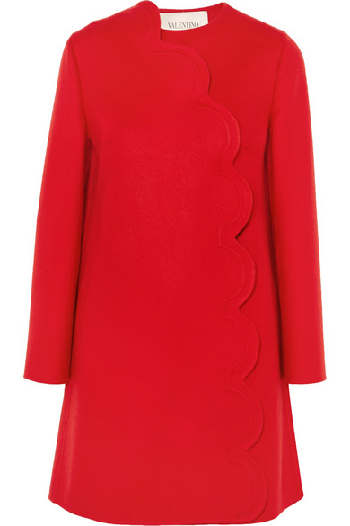 Valentino - Scalloped Wool And Cashmere-blend Coat - Red