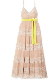 Valentino Embellished lace-trimmed tulle gown