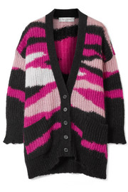 Valentino Oversized intarsia mohair-blend cardigan