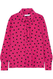 Valentino Pussy-bow printed silk blouse