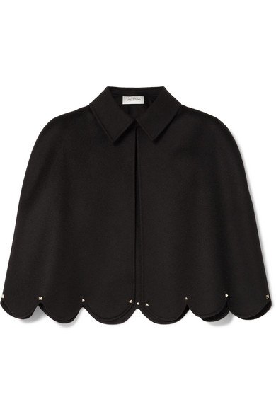 Studded Scalloped Wool And Cashmere-Blend Cape in Black