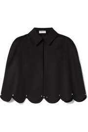 Valentino Studded scalloped wool and cashmere-blend cape